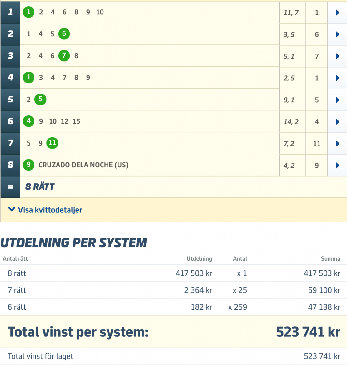 VI VANN MEST I SVERIGE – 43.645:-/ANDEL